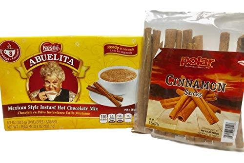Polar Cinnamon Sticks, Abuelita Mexican Style Instant Hot Chocolate Mix Bundle