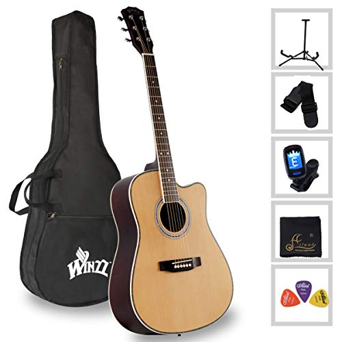 [해외]Acoustic Guitar Full Size 41-inch Spruce Cutaway Guitar Beginner Starter Students Kids Bundle with Gig Bag Stand Tuner Picks Strap / Acoustic Guitar Full Size 41-inch Spruce Cutaway Guitar Beginner Starter Students Kids Bundle with...