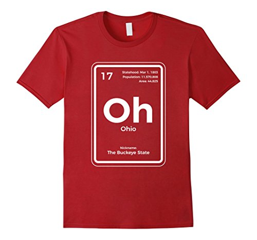 Mens Ohio T Shirt Periodic Table Buckeye State Large Cranberry
