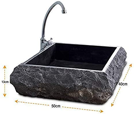 Lavabo de una sola pieza, lavabo de tocador de baño de mármol de ...