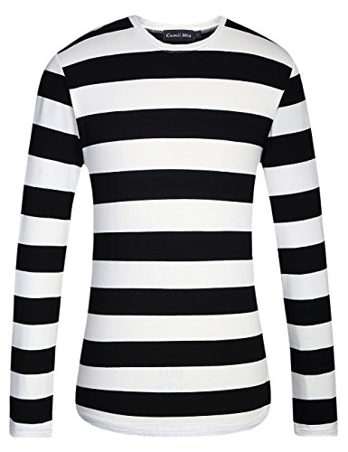(Camii Mia Men's Cotton Crew Neck Long Sleeves Stripe T-Shirt (Medium, Black)