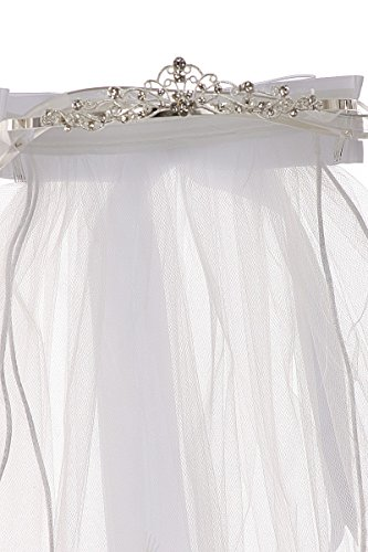 First Communion Veil with Virgin Mary & Sparkling Rhinestones Flower Girl Tiara White TR T113F