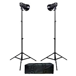 Promaster SM180 180Ws Manual Control 2-Light Studio Kit with Bulbs , Case (6798)