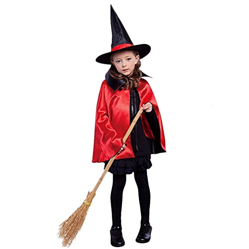 Kids Halloween Christmas Party Cloak With Hat Reversible Witch Capes Costume (90cm, Black+Red) (Witch Girl Costume)