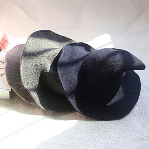 DELAISUS Witch Hat Sheep Wool Christmas Halloween Foldable Costume Ball Sun Cap for Winter Dark Grey