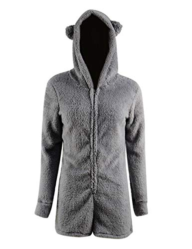 Missfamo Ladies Cute Long Sleeve Sleepwear Fleece Hooded Cozy Sherpa Romper Fluffy Pajamas Short One Piece Jumpsuit (S, Grey)