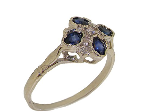 (925 Sterling Silver Real Genuine Sapphire & Diamond Womens Cluster Anniversary Ring (0.07 cttw, H-I Color, I2-I3 Clarity))