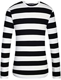 Camii Mia Men's Cotton Crew Neck Long Sleeves Stripe T-Shirt