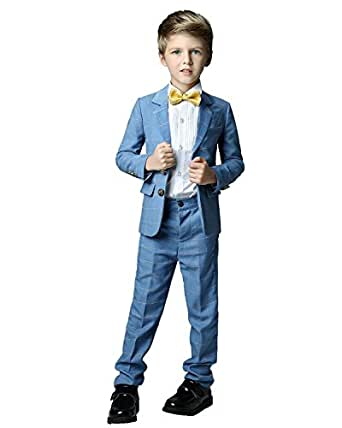Yanlu Formal Dress Slim Fit Boys Plaid Suits for Toddler Wedding Size 2T Blue