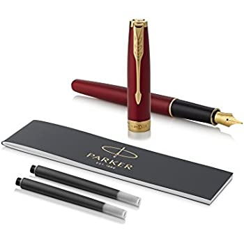 PARKER Sonnet Fountain Pen, Red Lacquer with Gold Trim, Fine Nib (1931473)