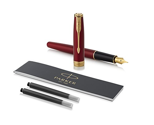 PARKER Sonnet Fountain Pen, Red Lacquer with Gold Trim, Medium Nib (1931474)