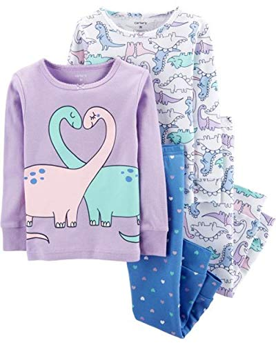 Carter's Baby Girls' 4 Pc Cotton (3T, Double Dino)