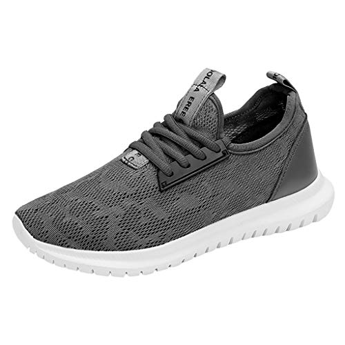 Men Women Fashion Sneakers Breathable Comfortable Lightweight Walking Shoes Slip-On Running Soft Sport Fitness Sneakers,36-41 Grey