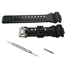 16mm Watch Band Strap fit Casio G Shock GA-100 GA-300 GD-100 GA-120 GA100B GA110 - Glossy Black