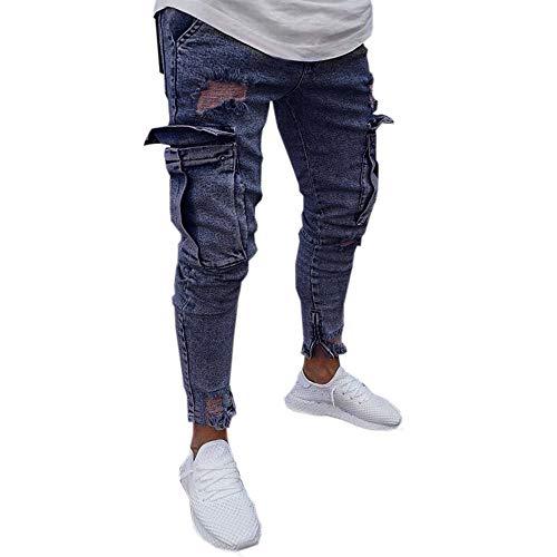 - Men Jeans Men's Plus Size Ripped Slim Fit Straight Zipper Broken Holes Denim Pants Vintage Style Motorcycle Trousers Slacks