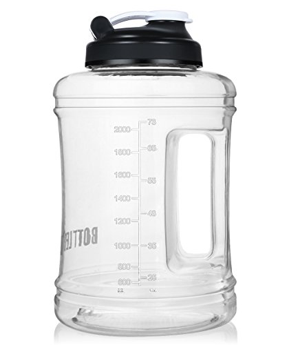 Water Bottle 2.5L Large Water Jug with Handle BPA Free Plastic Sports Water Bottle Wide Mouth and Leakproof for Outdoor Gym Travel Office - Handles Bpa Bottle Free