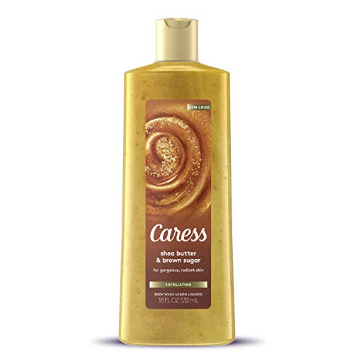 Caress Exfoliating Body Wash for Everyday Use Shea Butter and Brown Sugar 18 oz