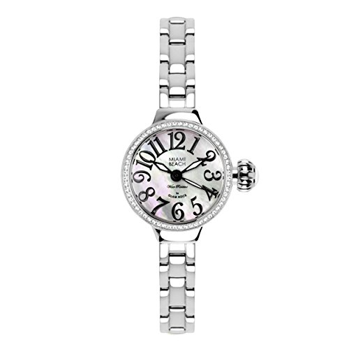 Glam Rock Women's MBD27172 Miami Beach Art Deco Silver/White Mother of Pearl Crystal Watch
