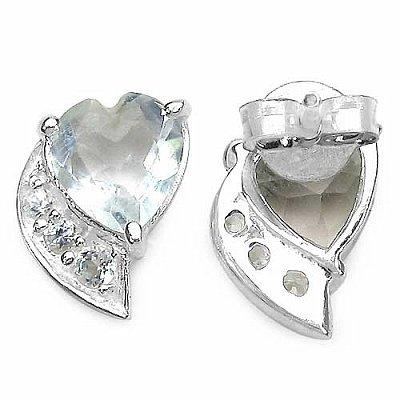 Bijoux Schmidt-Boucles d'oreilles vertes cardiaques rares-1 Topaze Améthyste / blanc, 98 carats d'argent
