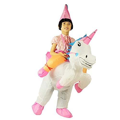 Unicorn Inflatable Rider Costume Halloween Blow Up Costume for Men and Children (Kids Unicorn) Pink