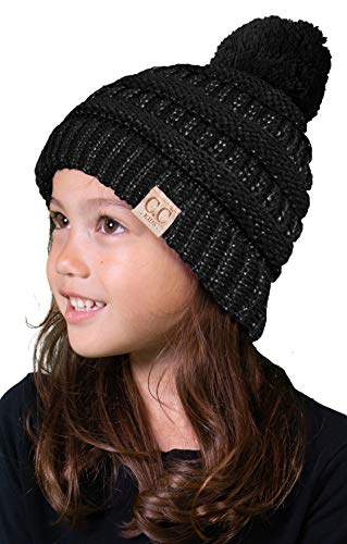 H-6847-M06 Kids Pom Beanie - Metallic - Pom Metallic Black Poms