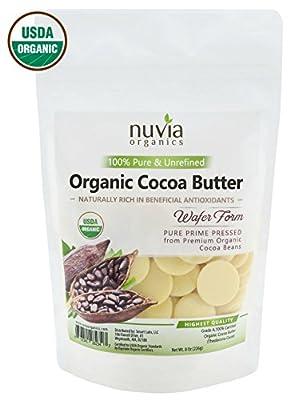 Nuvia Organics Cocoa Butter - 100% USDA Certified Organic, Raw Unrefined Pressed Wafers, Food Grade, Edible, Keto, Vegan; 8oz from Smart Labs
