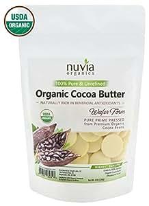 Nuvia Organics Cocoa Butter - 100% USDA Certified Organic, Raw Pressed Wafers, Food Grade, Keto, Vegan; 8oz