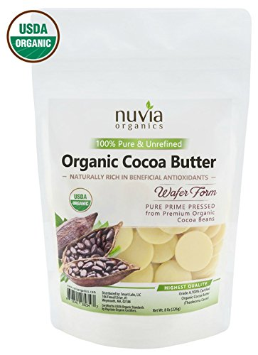 Nuvia Organics Cocoa Butter - 100% USDA Certified Organic, Raw Unrefined Pressed Wafers, Food Grade, Edible, Keto, Vegan; 8oz (Natural Cocoa Butter)