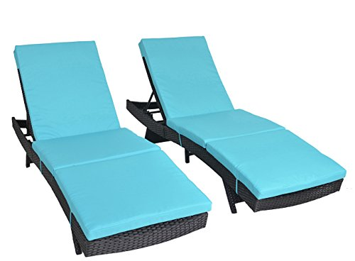 Outdoor Patio Black Rattan Wicker Adjustable Cushioned Chaise Lounge Chair(Turquoise Cushions,Set of 2) Review
