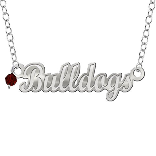 Collegiate Jewelry Mississippi State University Bulldogs Script Necklace with Color Crystal Accent
