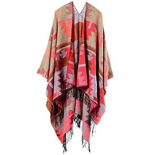 (MILIMIEYIK Long Shawl Sweater Women, Blouse Womens Casual Lapel Open Front Vest Cardigan Coat for Women Red)