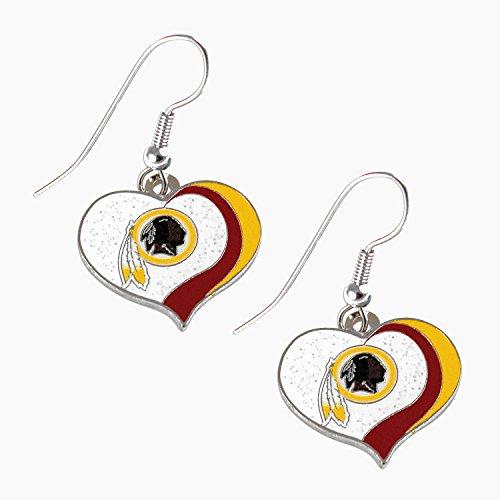 NFL Washington Redskins Women's Sports Team Logo Swirl Heart Glitter Earring Set, One Size, ()