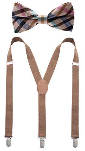 Bowtie & Suspender Set - Beige Checkered Bowtie & Beige Suspenders