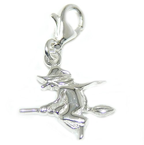 925 Solid Sterling Silver Dangling Clip-on Witch on a Broomstick Silhouette Charm (Halloween Witch Cauldron Silhouette)