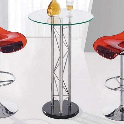 Global Furniture Bar Table, Clear Black Chrome