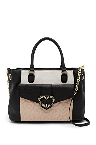 Betsey Johnson Rhinestone Jeweled Heart Snap Closure Quilted Heart Pocket Triple Entry Satchel Shoulder - Jeweled Bag Heart