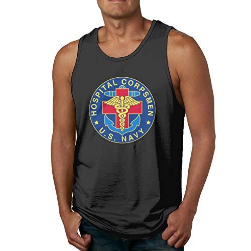 EICOENX Mens US Navy Hospital Corpsman Cotton Casual Tank Top Shirt Sleeveless Sports Workout Running Camis
