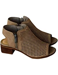 Womens Peep Toe Cut Out Sandals Booties Ankle Heels