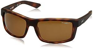 Arnette Men's Corner Man Polarized Rectangular Sunglasses, Fuzzy Dark Havana, 61 mm