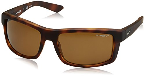 Arnette Men's Corner Man Polarized Rectangular Sunglasses, Fuzzy Dark Havana, 61 - Sunglasses Arnette Polarized