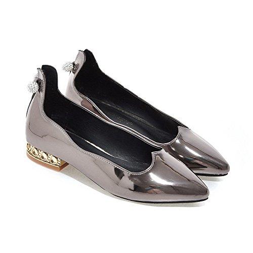 Allhqfashion Donna Pull In Vernice Punta A Punta Scarpe Basse Tacco Basso Scarpe-scarpe Grigie