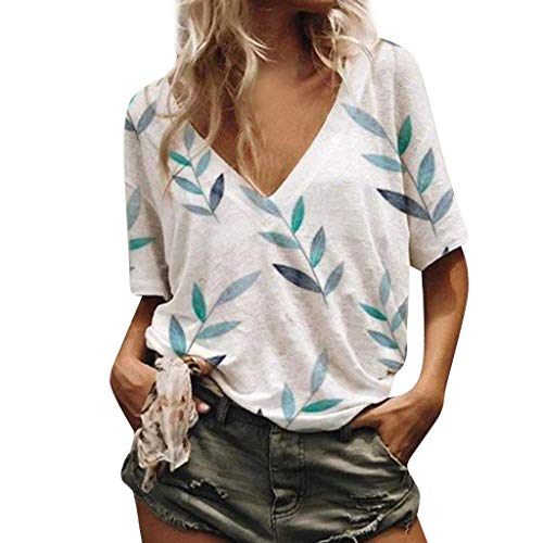 - NCCIYAZ Womens T-Shirt Top V-Neck Bamboo Leaves Printed Plus Size Loose Short Sleeve Ladies Oversized Blouse(L(8),White)
