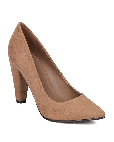 Natural Toe Dressy Women by Cone Faux Suede Heel GE97 Office Pump Formal Pointy Breckelles fCqpOw6