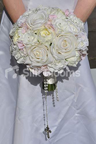 Silk Blooms Ltd オーバーサイズ 人工ペールピンクとアイボリーローズブライダルブーケ ロザリオビーズ付き B07H8HYFKZ