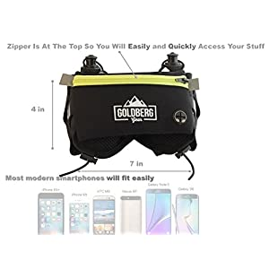 HYDRATION BELT - Comfortable to Wear Running Pouch with Two 10oz BPA Free Water Bottles Perfect for Women & Men, NO Slide & NO Bounce BIG Pocket Fits Most Smartphones Guaranteed Running Experience