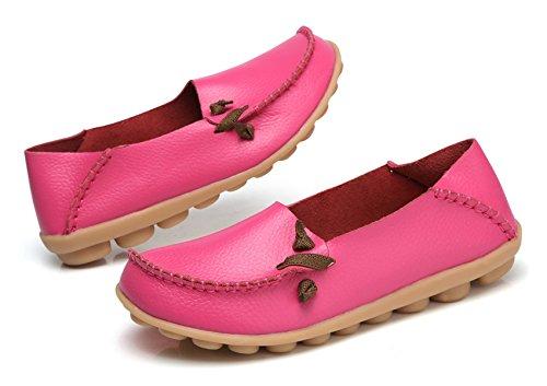Venuscelia Mujeres Comfort Walking Cute Flat Loafer Fushia / Rosiness