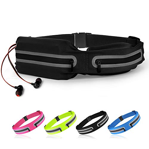 boruizhen Slim Running Belt, Waterproof Fitness Waist Packs Adjustable Walking Pouch Workout Belt for Phone, Yoga, Cycling, Hiking, Jogging