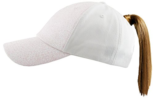 Funky Junque H-216-GS09 Pony Cap - Glitter - Solid White]()
