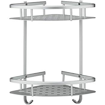 deekec bathroom corner shelf shower caddy storage durable aluminum 2 tiers shampoo basket holder kitchen corner