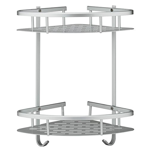 Deekec Bathroom Corner Shower Shelf Shower Storage Durable Aluminum 2 Tiers Shampoo Basket Holder Kitchen Adhesive Suction Corner ()
